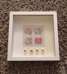 Heart frame with scrabble pieces by ForeverJam on Etsy