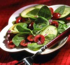 Fresh Cherry Salad with Rubies and Greens http://ow.ly/kCcL1