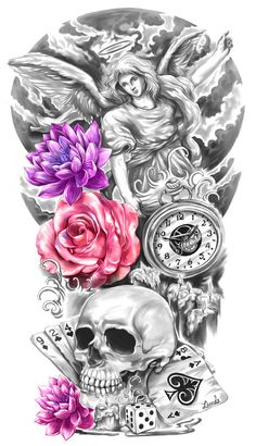 I did this for a client who wanted a full-sleeve tattoo to commemorate the death of his father. The bottom section of this design will connect to an existing tattoo on the back of his hand.