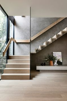Staircase Design Modern, Timber Staircase, House Staircase, Home Stairs Design, Floating Staircase, Railing Design, Interior Stairs, Spiral Staircases, Railing Ideas