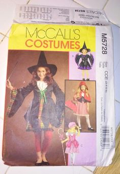 Witch, Little Red Riding Hood, Little Bo Peep Children's Costume Sewing Pattern McCall's M5728 Halloween Size 3-6 - pinned by pin4etsy.com
