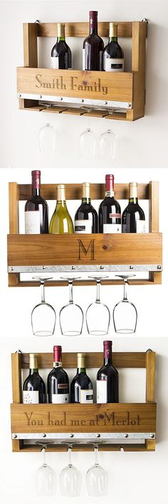 Inspired by the popular pallet home decor trend, this wall-mounted rustic wine glass rack personalized with single initial, name or custom phrase is a useful gift that can be used every day in the kitchen, home bar or man cave. With slots to hang 4 wine g Pallet Home Decor, Pallet Crafts, Diy Home Decor, Rustic Wine Racks, Pallet Wine, Wine Glass Rack, Diy For Men, Home Decor Trends, Wood Pallets