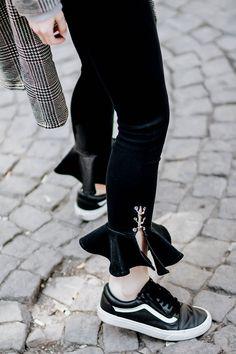 FLARED FRILL HEM JEANS – Belle Melange grey hoodie, black denim and checked coat