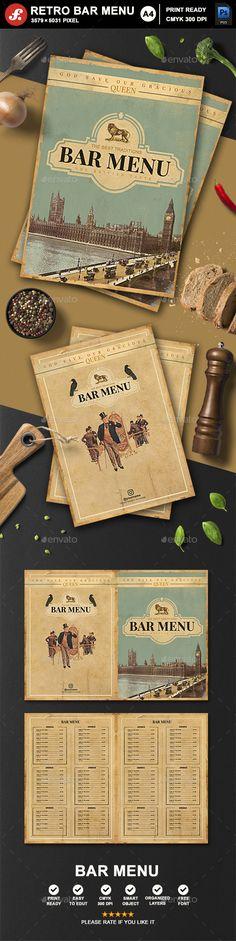 Retro Bar Menu - Food Menus Print Templates