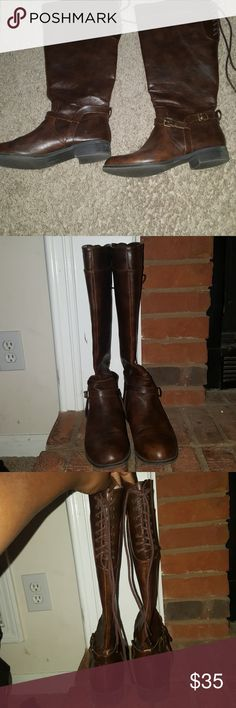 Tall brown women boots UNR8ED tall brown boots. Very comfy! Pre-owned. Minor wear and tear. UNR8ED Shoes