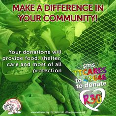 Make a difference in your community! SMS TTCARES to 42646 to make a R30 donation and help support 250 local and national organisations that benefit from the Tekkie Tax campaign. Your donations will provide food, shelter, care and most of all protection to those who need it most!  #tekkietax #makethecirclebigger #takehands #lovingtekkies #VirtualHug #1000000Hugs