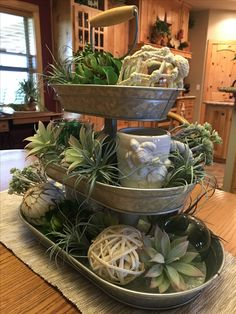 Spring/beach/sea glass green tiered tray