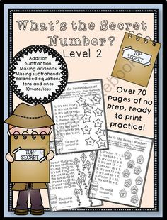 What's the Secret Number? Level 2 - Do you want you students to practice math skills in a fun and different way?  This product can help you do that. This product covers a variety of math skills at a progressing level so it can be used all year long!.  A GIVEAWAY promotion for Whats the Secret Number? Level 2 No Prep from The Honey Pot on TeachersNotebook.com (ends on 8-22-2014)