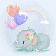cute elephant and balloons , Elephant Illustration, Cute Animal Illustration, Graphic Illustration, Cute Baby Elephant, Cute Baby Animals, Baby Elephants, Wild Animals, Elephant Background, Elephants Playing