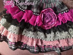 Sample Sale. Unique  Ruffled skirt plaid flanel by Babybonbons