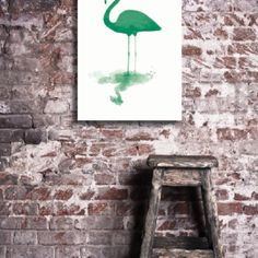 Flamingo Duotone green canvas wall art wallstudio