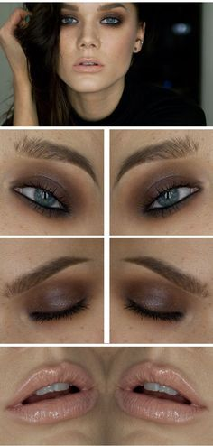 Pair a brown smokey eye with killer black liner and a super glossy nude lip   - Sugarscape.com