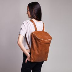 Honey Brown Leather Backpack Laptop Bag by CyanByMiriWeiss on Etsy