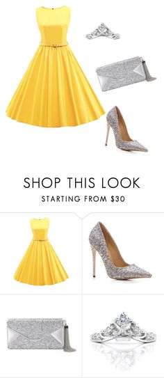 """""""gray and yellow"""" by abbs-h ❤ liked on Polyvore featuring WithChic and BCBGMAXAZRIA"""