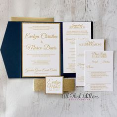 Glitter wedding invitation suite navy by ATGInvitations on Etsy