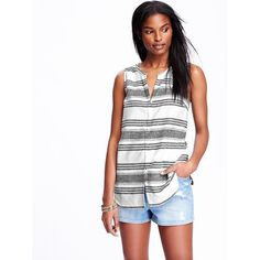 Old Navy Womens Striped Sleeveless Linen Blend Tunics ($15) ❤ liked on Polyvore