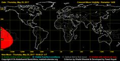 As can be seen in the visibility curve, today, 25th May, most of the world is in black zone.We do not expect any positive crescent sighting reports from any part of the world today. We will publish live moon sighting reports on this page as well as our social media accounts today and tomorrow. Do remember, Ramadan 2017 starts on Saturday, 27th May in all countries of the world. #Ramadan2017 | #Ramadan1438