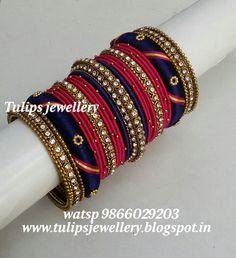 Silk Thread Bangles Design, Silk Thread Earrings, Gold Bangles Design, Thread Jewellery, Jewelry Design, Kundan Bangles, Silk Bangles, Bridal Bangles, Designer Bangles