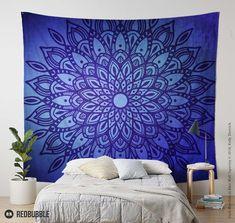 Dark Mandala in Indigo Blue Wall Tapestry by Kelly Dietrich