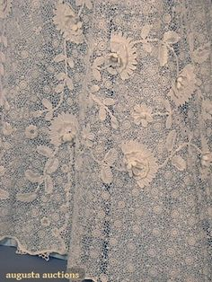 Celtic: Lace detail of Irish Crochet Tea Gown, Lace Ribbon, Lace Ruffle, Ruffles, Needle Lace, Bobbin Lace, Antique Lace, Vintage Lace, Irish Crochet, Crochet Lace