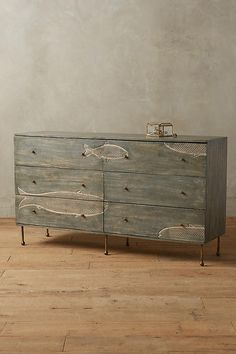could try this on the pine 6 drawer dresser from Ikea-Handcarved Streamlet Six-Drawer Dresser Recycled Furniture, Unique Furniture, Furniture Decor, Painted Furniture, Furniture Design, Three Drawer Dresser, Dresser Drawers, Dressers, Anthropologie Home
