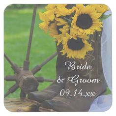 Rustic Sunflowers and Cowboy Boots Country Wedding Square Paper Coaster