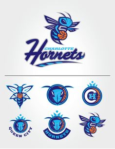 Rebranding & Expanding The NBA by Ian Bakar, via Behance Team Logo Design, Badge Design, Soccer Logo, Nba Basketball, Hockey, Charlotte Hornets Logo, Logo Bee, Adidas Design, Sports Decals