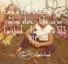 """Announcing our """"share a sis pic. get a sis disc"""" promo. All you need to do is like us on Facebook, then tag Traveling Sanctuary Sisterhood in the status. (sis as in related by blood or by sharing the same universe) We'll message you with your own personal 20% discount coupon, good for a month. www.facebook.com/travelingsanctuary"""