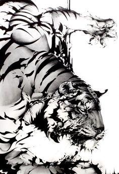 Tatoo Tiger, Tiger Tattoo Design, Lion Tattoo, White Tiger Tattoo, Creature Drawings, Animal Drawings, Body Art Tattoos, Tattoo Drawings, Samurai Artwork