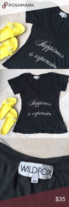 """Wildfox """"Happiness is Expensive"""" tee """"Happiness is expensive."""" Dark olive green Wildfox shirt. Great condition. Minor flaws shown which is one small hole on the back of the shirt on the neck, and another small hole under the armpit - not even noticeable. Will iron before sending Wildfox Tops Tees - Short Sleeve"""