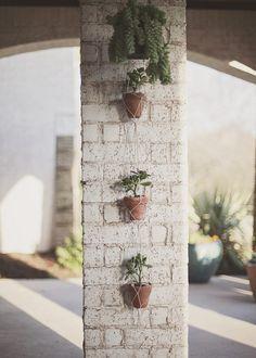 Makramee-Blumenampel terrasse außen deko wand tontöpfe