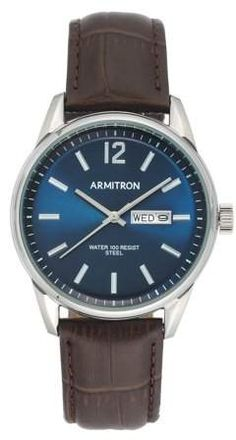 Armitron Men's Brown Leather Watch Brown Leather Strap Watch, Men's Day, Men Dress, Walmart, Watches, Blue, Stuff To Buy, Accessories, Clocks