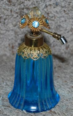 Vintage Perfume Bottle Decanter Aqua Blue Rhinestones Cut Glass Gold Detail | eBay