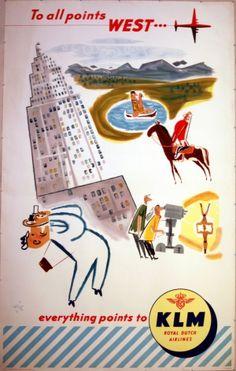 Original Vintage Posters -> Travel Posters -> KLM Royal Dutch Airlines - AntikBar