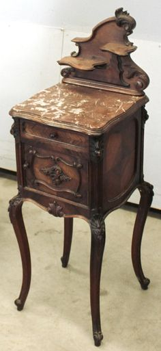 Antique French Louis XV Rosewood Nightstand | Nightstands | Inessa Stewart's Antiques Antique French Furniture, Victorian Furniture, Primitive Furniture, Vintage Furniture, French Style Decor, French Country Style, Real Wood Furniture, Painted Furniture, French Country Bedrooms