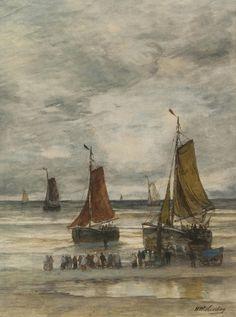 Hendrik Willem Mesdag – Bomschuiten en vissersvolk op het strand