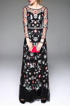 Floral Embroidered Slit Prom Dress - BLACK L