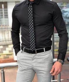 Antonia Black Slim Fit Dress Shirt Collection: Spring – Summer Product: Slim Fit Cotton Shirt Color Code: Black Shirt Material: cotton Available Size: S-M-L-XL-XXL Machine Wa. Black Shirt Outfits, Mens Dress Outfits, Stylish Mens Outfits, Men Dress, Black Dress Shirt, Dress Clothes For Men, Casual Clothes, Sweater Outfits, Classy Outfits