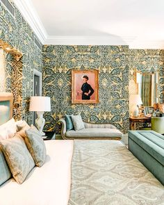 """Minimalism is certainly not our style """"Sweet maximalist dreams."""" { by Head over to our online store now (link in bio) to shop modern boho prints decor fashion furniture and lifestyle! Brown Hotel, Suite Life, Fancy Houses, Workplace Design, London Hotels, Girl House, Furniture Styles, Interior And Exterior, Bedroom Decor"""