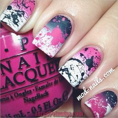 Pink, black, and white gradient splatter nails. Sub out pink for green or blue and I would rock those nails! Cute Nail Art, Cute Nails, Pretty Nails, Fabulous Nails, Gorgeous Nails, Amazing Nails, Fancy Nails, Diy Nails, Splatter Nails