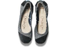 Black Chambray Ballet Flats | TOMS.com