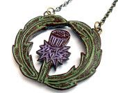 Thistle Necklace - Botanical Jewelry - Sage Green and Lavender