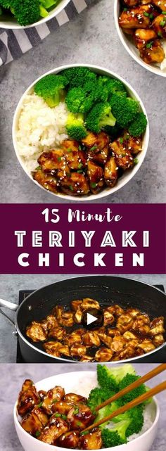 The easiest, most unbelievably delicious Teriyaki Chicken. And it'll be on your dinner table in just 15 minutes. It's much better than takeout! All you need is only a few ingredients: chicken breast, soy sauce, cider vinegar, honey and cornstarch. One of the best Asian dinner ideas! Served with rice and broccoli. Quick and easy dinner recipe. Video recipe. | Tipbuzz.com
