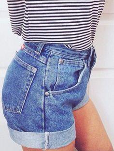 Stripes and denim shorts