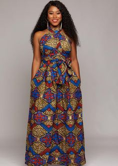 Dresses - Ronke African Print Halter Maxi Dress (Red/Blue/Tan) Source by African Fashion Designers, Latest African Fashion Dresses, African Print Dresses, African Print Fashion, Africa Fashion, Modern African Dresses, Modern African Fashion, Ankara Fashion, Trendy Ankara Styles