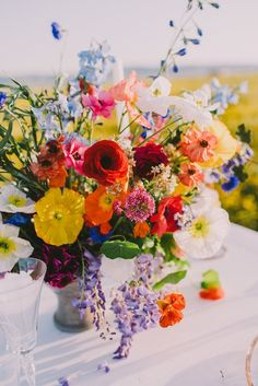 Wild Flowers Bright Wedding Centerpiece