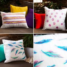 DIY Basics: Watercolor-Inspired Throw Pillows – Brit + Co Sharpie Crafts, Sharpie Art, Sharpies, Sharpie Drawings, Crafts To Do, Arts And Crafts, Sharpie Colors, How To Tie Dye, Gifts
