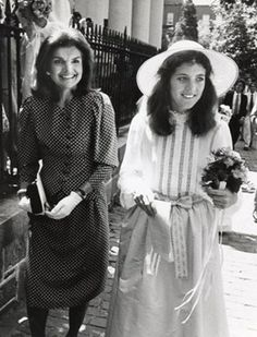 Jackie Onassis and Caroline Kennedy at the wedding of Courtney Kennedy and Jeff Ruhe, 14 June 1980.
