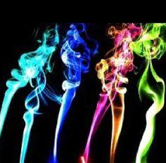 Rainbow neon smoke or fire