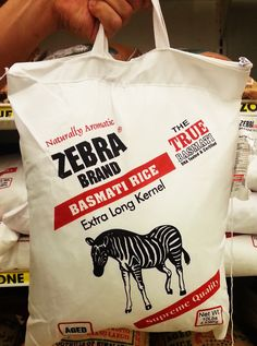 Why should a bag of rice be just a bag of rice.  Love this clever design for Zebra brand Basmati Rice with handles, zipper, and durable material.